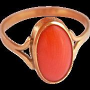 18K Gold Vintage Italian Coral Ring