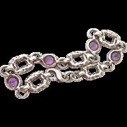 Heavy Modernist Amethyst Silver Bracelet