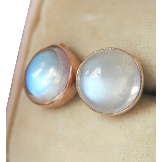 Antique/Vintage 9K 9CT Rose Gold 4.00 ct. Moonstone Earrings