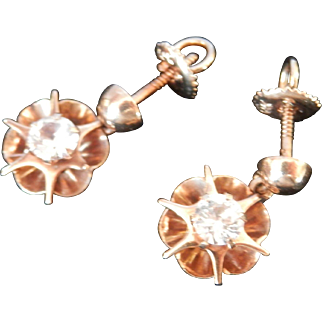 Vintage 14K Gold White Topaz Starburst Drop Earrings