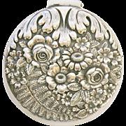Rare Antique Tiffany & Co. Silver Floral Repoussé Pill or Trinket Box