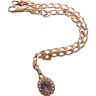 Antique/Vintage 9K 9CT Link Bracelet with Amethyst Seed Pearl Charm