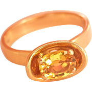 18K Gold Toni Cavelti Design Fancy Yellow Sapphire Vintage Ring