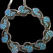 Margot de Taxco Mosaic Swirl Enamel Silver Bracelet, signed