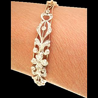 Antique 14K Gold Ornate 1.22 ct. Diamond Bracelet