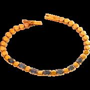 18K Gold Natural Blue Sapphire Vintage Bracelet
