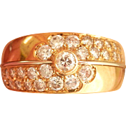 Heavy 18K Gold Vintage 0.60 ct. Diamond Cluster Ring