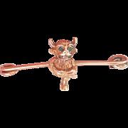 Victorian 9K Gold Emerald Imp/Devil Antique Pin
