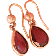 Antique 9K 9CT Gold 2.60 ctw. Garnet Pear Drop Earrings