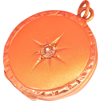 14K Gold Antique Diamond Starburst Locket Pendant or Charm