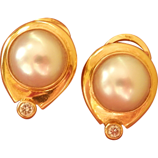 18K Gold Mabe Pearl Diamond Vintage Omega Earrings