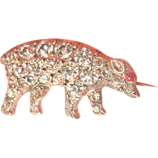 Victorian Silver Paste Pig Ruby Eye Antique Pin
