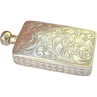 Art Deco Austrian .935 Silver Engraved Snuff or Perfume Bottle