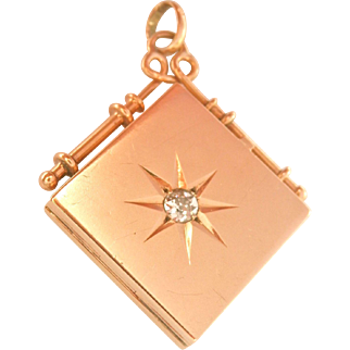 14K Gold Antique Diamond Starburst Locket Pendant