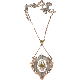 Edwardian 9Ct Rose Gold Silver Peridot Antique Necklace