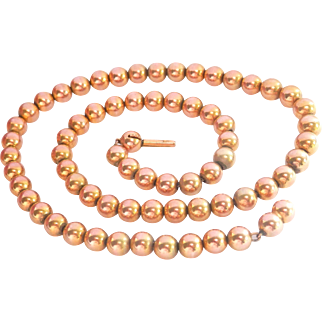 Antique 10K Gold Bead Victorian Necklace