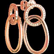 Vintage Movado 18K White Gold Diamond Drop Earrings