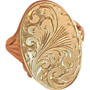 Engraved 9K Gold Vintage Heavy Locket Pinky Ring