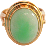 14K Gold Vintage Natural Jadeite Jade Cocktail Ring