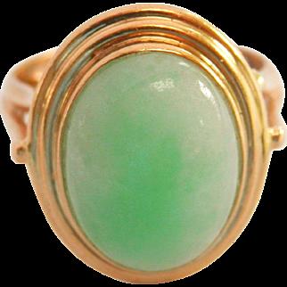 14K Gold Vintage Natural Jadeite Jade Cocktail Ring