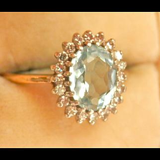 Vintage 9K 9CT Vintage Aquamarine Diamond Ring