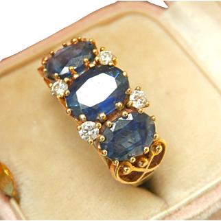 9K 9CT 3-Stone Natural Sapphire Diamond Vintage Ring