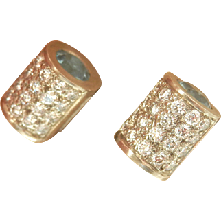 18K White Gold Natural Aquamarine 0.72 ct. VS Diamond Earrings