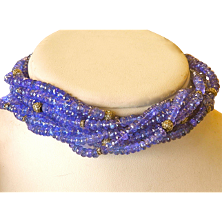 14K Gold Long Tanzanite Diamond Torsade Necklace
