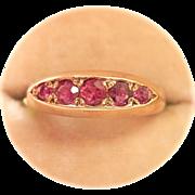 Vintage 9K Gold 5-Stone Ruby Boat Ring