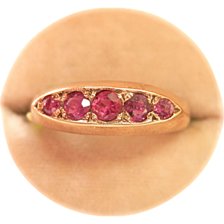 Vintage 9K Gold 5-Stone Ruby Boat Ring