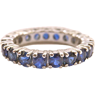 14K White Gold Full Eternity 2.85 CT. Sapphire Ring