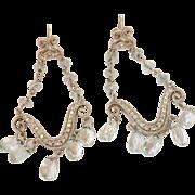 14K White Gold Aquamarine Briolette Diamond Chandelier Earrings