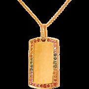 18K Gold 1.10 ct. Multi-colour Sapphire Diamond Dog Tag Necklace