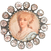 Antique Portrait French Paste Pin Brooch