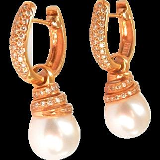 18K Gold Diamond Cultured South Sea Pearl Convertible Drop Earrings