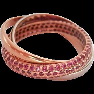 18K Tri-Gold 1.48 ct. Ruby Rolling Trinity Ring