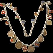 Vintage Enamel Flag, Coin, Travel Charm Souvenir Necklace