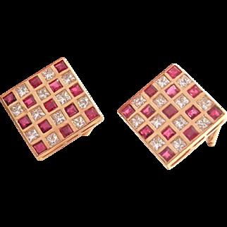 Large 14K Gold Ruby 1.92 ct. Diamond Vintage Earrings