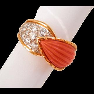18K Gold Carved Coral 0.50 ct. Diamond Vintage Ring