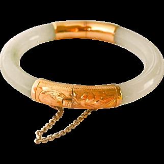14K Gold Vintage Chinese Jadeite Bangle Bracelet