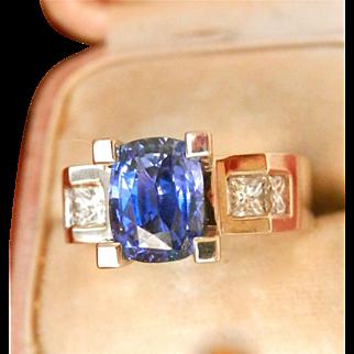 18K White Gold Heavy 2.64 ct. Natural Sapphire Diamond Ring