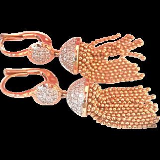 14K Gold Phillip's House Diamond Tassel Earrings