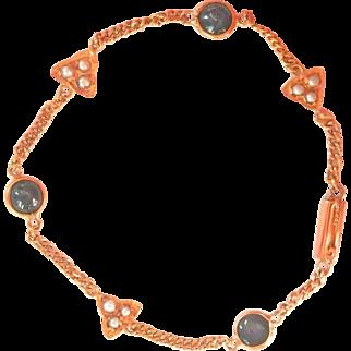18K Gold Sapphire Seed Pearl Antique Bracelet