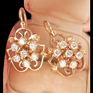Vintage 14K Gold Diamond Cluster Drop Earrings