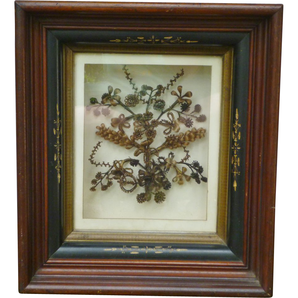 Victorian Mourning Hair Wreath In Nouveau Shadowbox Frame : Amazing ...