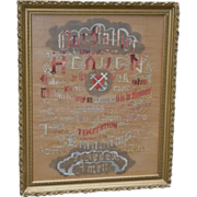 Gorgeous Punch Paper The Lord's Prayer Embroidery Sampler Framed