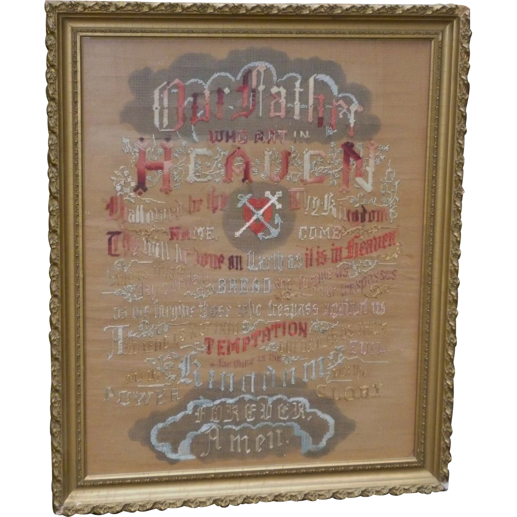 gorgeous punch paper the lord u0027s prayer embroidery sampler framed