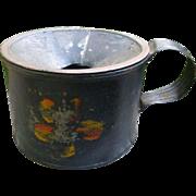 Tole Painted Tin Stenciler's Paint Pot Circa 1830's