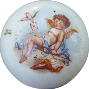 Lovely Cobalt Porcelain Parasol Handle With Cupid
