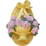 Hubley Cast Iron Basket Of Flowers Door Knocker